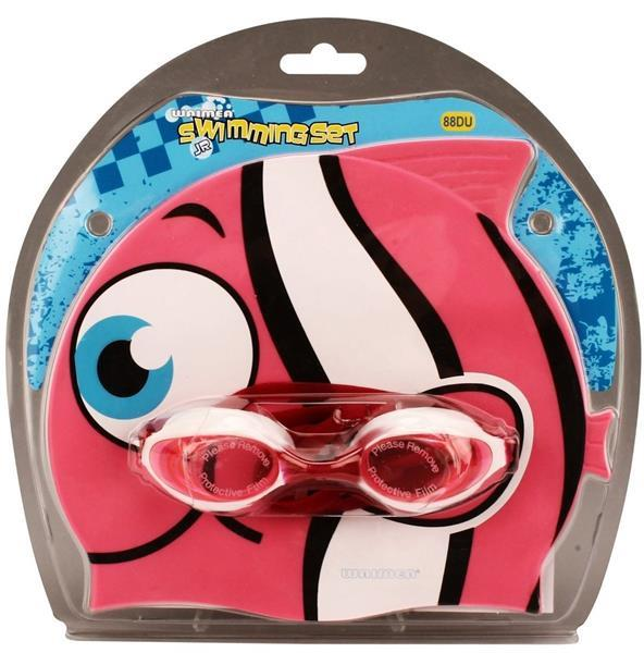 Grote foto waimea zwemmuts vis met zwembril junior fuchsia kinderen en baby los speelgoed