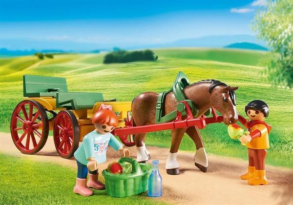 Grote foto playmobil country 6932 paard en kar kinderen en baby duplo en lego