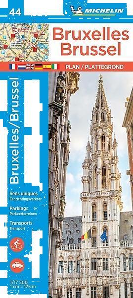 Grote foto stadsplattegrond brussel bruxelles 44 michelin stadsplat boeken atlassen en landkaarten