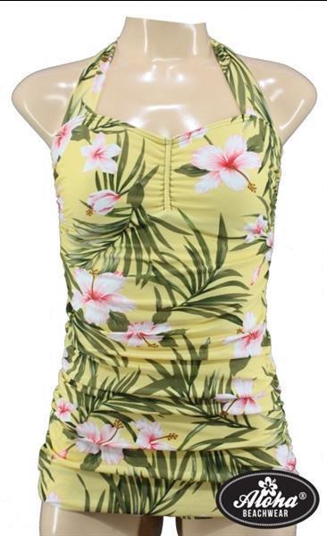 Grote foto aloha beachwear vintage pinup badpak yellow hawaiien hibisc kleding dames badmode en zwemkleding