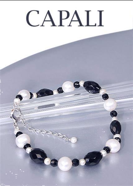 Grote foto no 185 parelarmband met onyx 19 cm sieraden tassen en uiterlijk armbanden voor haar