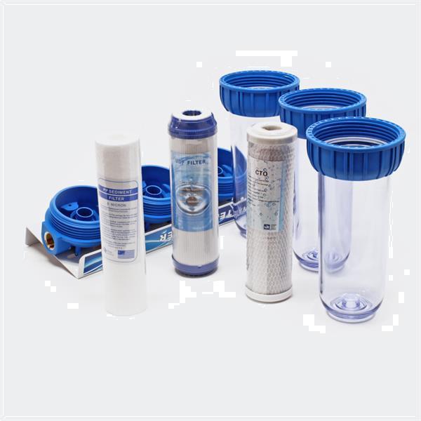 Grote foto waterfilter voorfilter met 1 aansluiting 3 filterpatronen tuin en terras vijvers en toebehoren