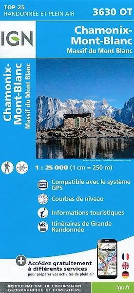Grote foto topografische wandelkaart van frankrijk 3630ot chamonix boeken atlassen en landkaarten
