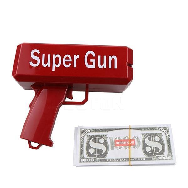 Grote foto money gun geld pistool cash cannon met nep geld kinderen en baby overige