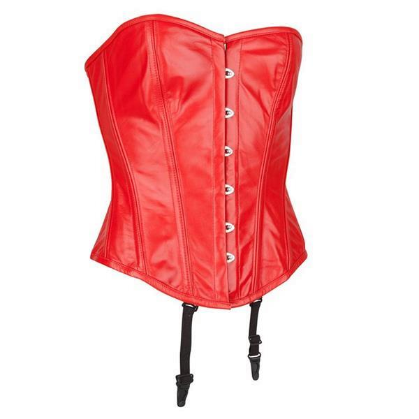 Grote foto echt leren corset model 10 rood in xs t m 10xl kleding dames lederen kleding