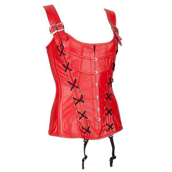 Grote foto echt leren corset model 04 rood in xs t m 10xl kleding dames grote maten