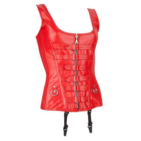 Grote foto echt leren corset model 01 rood in xs t m 10xl kleding dames lederen kleding