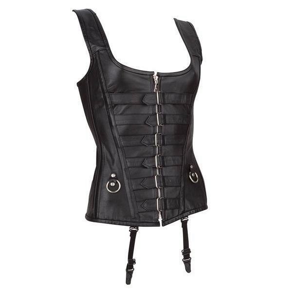 Grote foto echt leren corset model 01 zwart in xs t m 10xl kleding dames lederen kleding