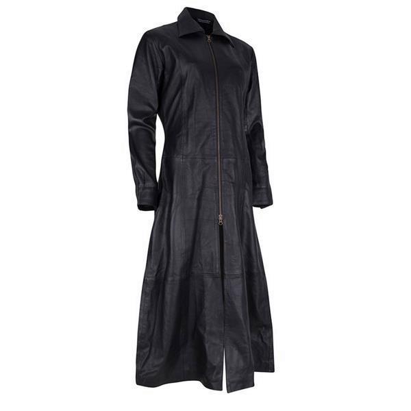 Grote foto lange leren matrix jas kleding dames lederen kleding