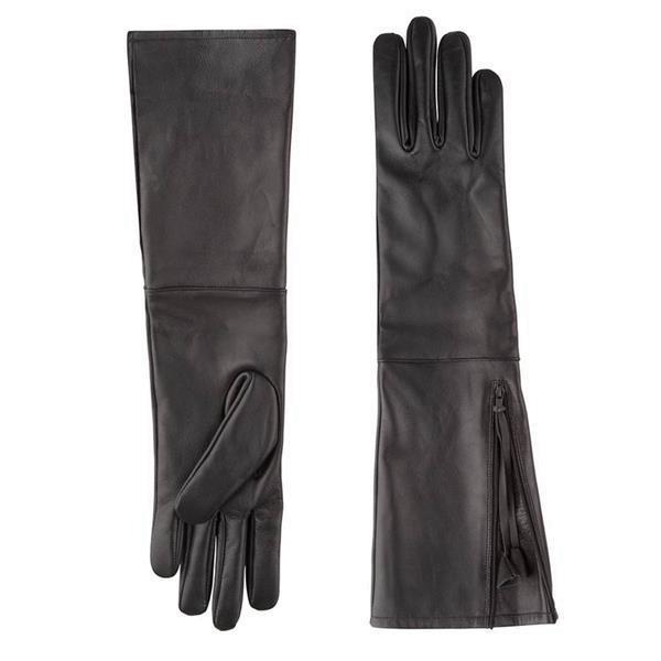 Grote foto lange leren handschoenen kleding dames lederen kleding