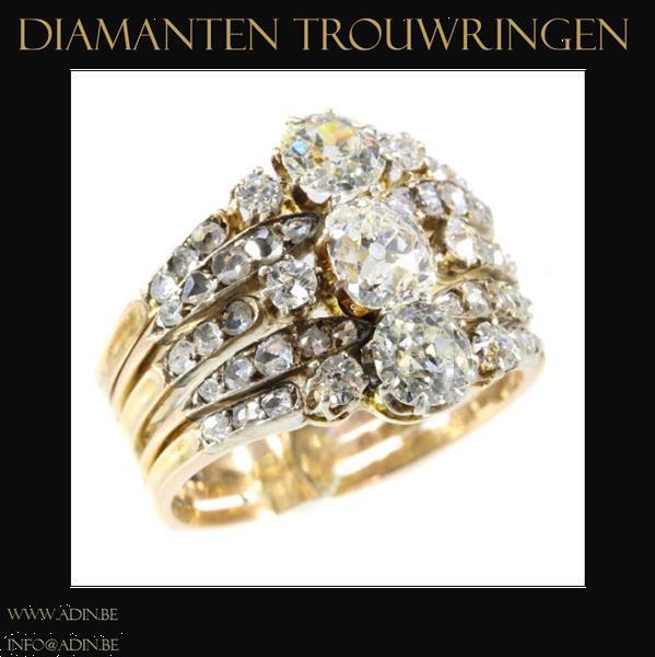 Grote foto gouden diamanten trouwringen sieraden tassen en uiterlijk ringen voor haar