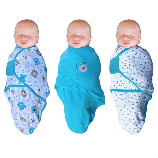 Grote foto bo jungle baby wikkeldeken bear 3 st blauw kinderen en baby overige