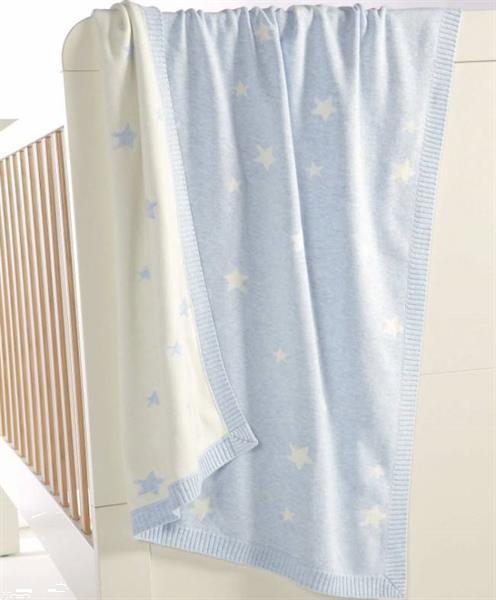 Grote foto gebreid dekentje millie boris blue star 70x90cm kinderen en baby complete kinderkamers