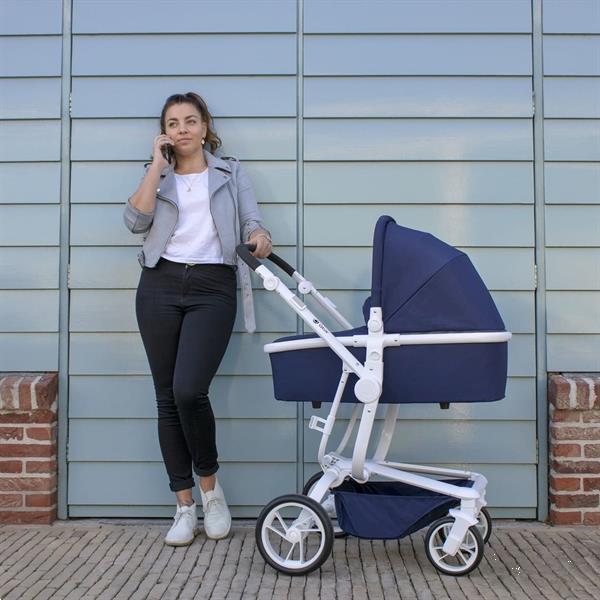 Grote foto spider de ideale all terrain wagen blauw wit frame kinderen en baby kinderwagens