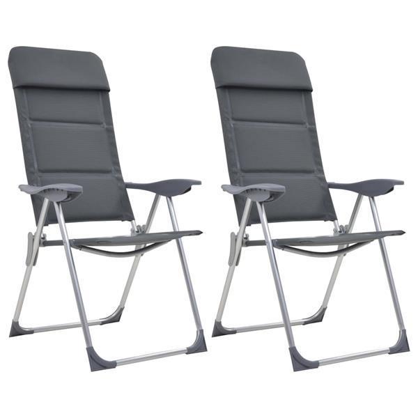 Grote foto vidaxl campingstoelen 58x69x111 cm aluminium grijs 2 st caravans en kamperen overige caravans en kamperen