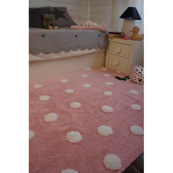 Grote foto topos rosa pink dots. 100 katoenen vloerkleed kinderen en baby complete kinderkamers