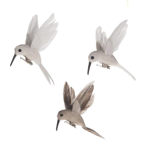 Grote foto vogeltjes bee bird 8x4x8cm. grijsmix met clip 3stuks kolibri verzamelen overige verzamelingen