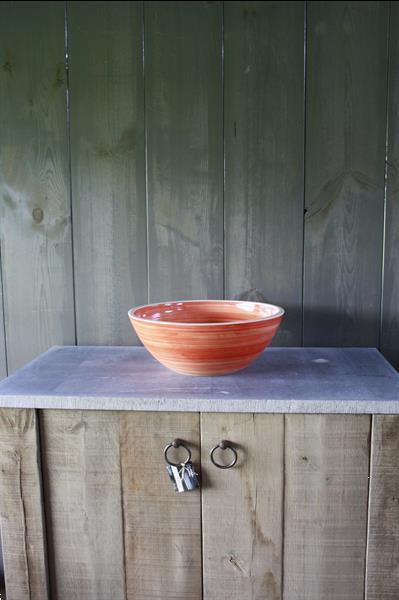 Grote foto borchia waskom porselein oranje 40 cm x 15 cm doe het zelf en verbouw sanitair
