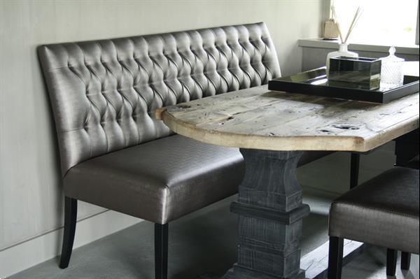 Grote foto eetkamerbank anouk verona silver capiton 180 cm huis en inrichting bankstellen