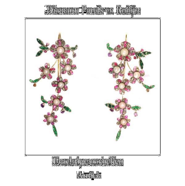 Grote foto prachtige antieke parel oorbellen sieraden tassen en uiterlijk oorbellen