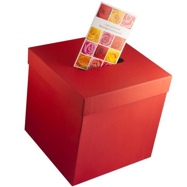 Grote foto enveloppendoos goud wit rood en heel veel kleuren diversen versiering