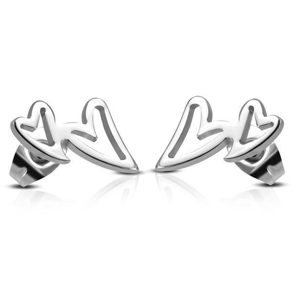 Grote foto opengewerkte zilverkleurige dubbele hartjes sieraden tassen en uiterlijk oorbellen