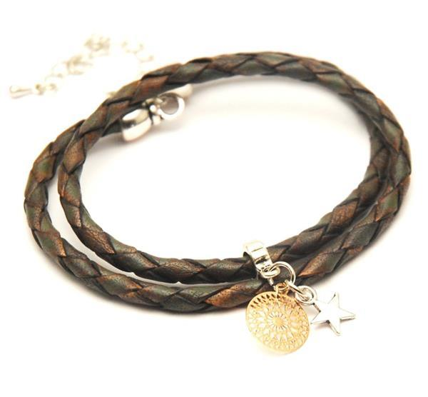 Grote foto donkergroene gevlochten leren wikkelarmband dames sieraden tassen en uiterlijk armbanden voor haar