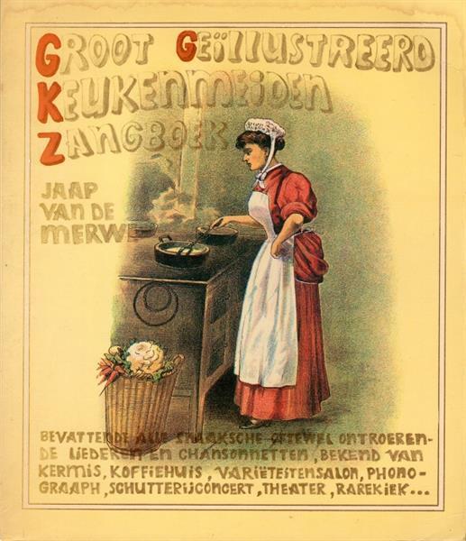 Grote foto groot geillustreerd keukenmeiden zangboek boeken muziek