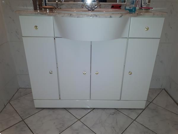 Grote foto badkamermeubel wit met spiegel en verlichting huis en inrichting badkamermeubels