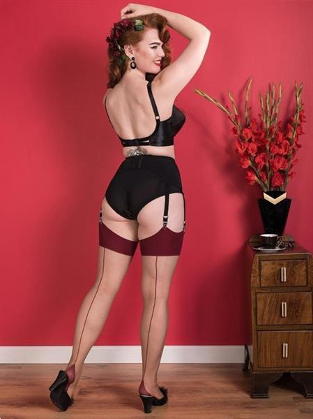 Grote foto what katie did seamed stockings nutmeg claret glamour. kleding dames ondergoed