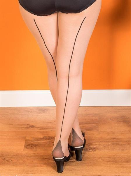 Grote foto what katie did retro seamed tights in champagne black. kleding dames ondergoed
