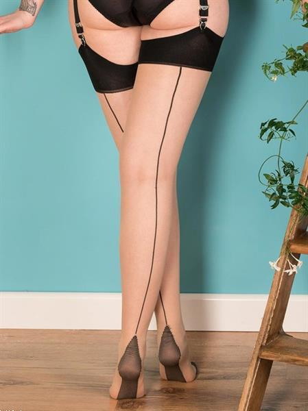 Grote foto what katie did seamed stockings contrast black glamour. kleding dames ondergoed