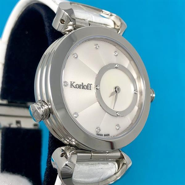 Grote foto korloff 28 diamonds for 0 12 carats reversible 2 timezones kleding dames horloges