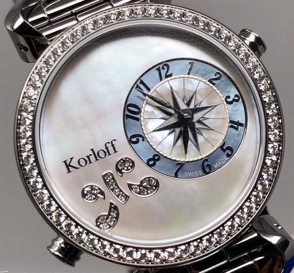 Grote foto korloff 108 diamonds for 1 26 carat reversible 2 time zone kleding dames horloges