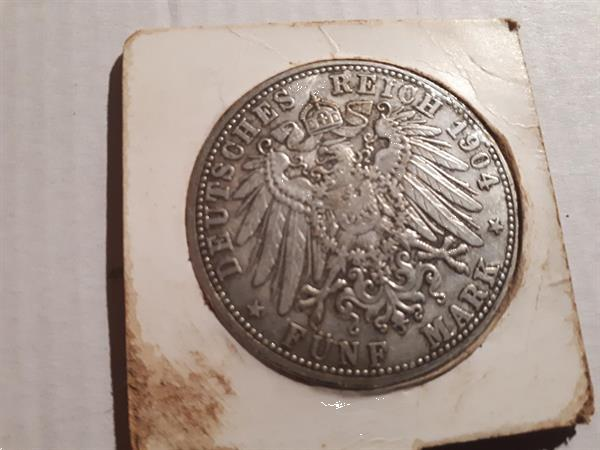 Grote foto 5 mark 1904 a duitsland oude munt postzegels en munten niet euromunten