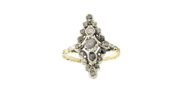Grote foto gouden vintage bicolour ring met roosdiamant 14 krt 718 sieraden tassen en uiterlijk ringen voor haar