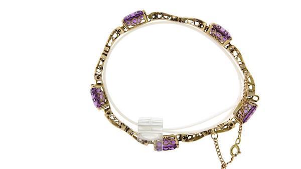 Grote foto gouden vintage armband met amethist 14 krt 1347.5 sieraden tassen en uiterlijk armbanden voor haar