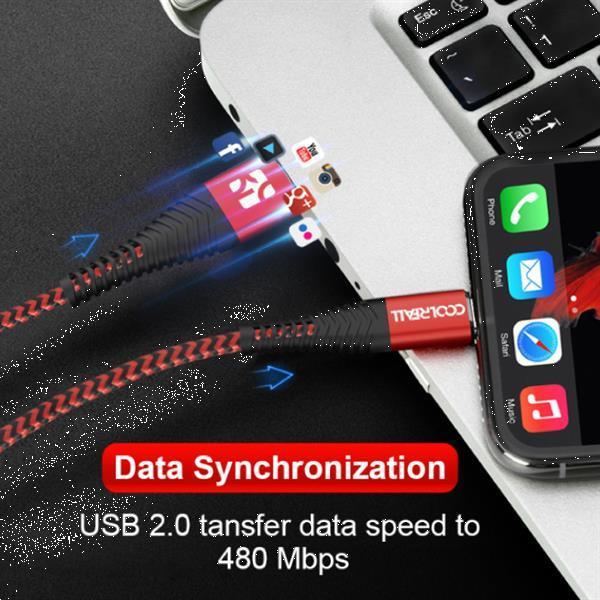 Grote foto lightning usb oplaadkabel datakabel 2m gevlochten nylon opla telecommunicatie opladers en autoladers