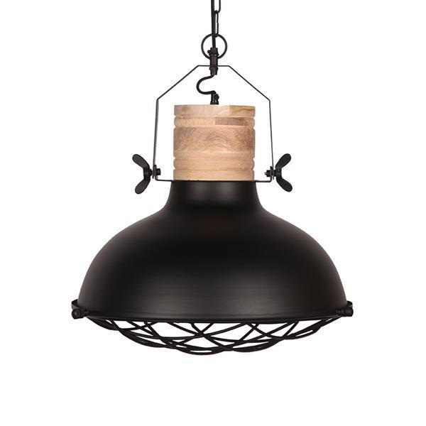 Grote foto label51 hanglamp grid zwart mangohout 52 cm huis en inrichting overige