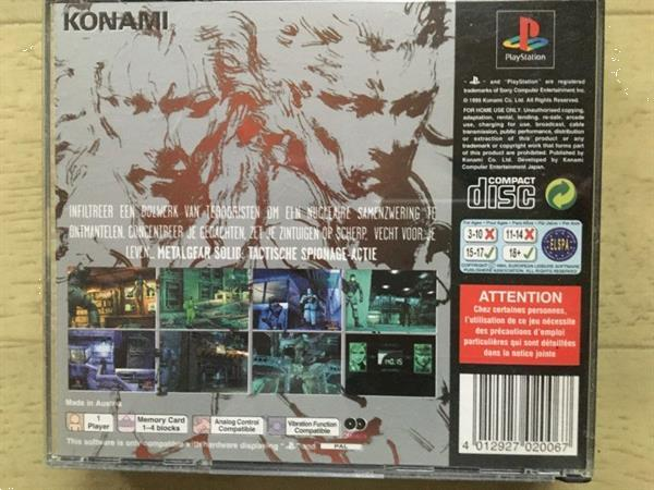 Grote foto ps1 metal gear solid demo disc spelcomputers games playstation