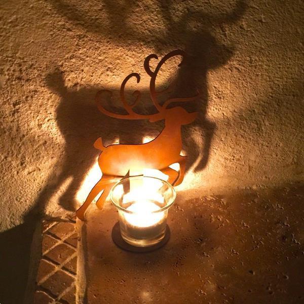 Grote foto tafeldecoratie metalen rendier met kaarshouder kerstdecorat diversen overige diversen