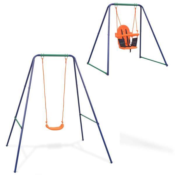 Grote foto vidaxl schommel voor peuters 2 in 1 oranje kinderen en baby los speelgoed