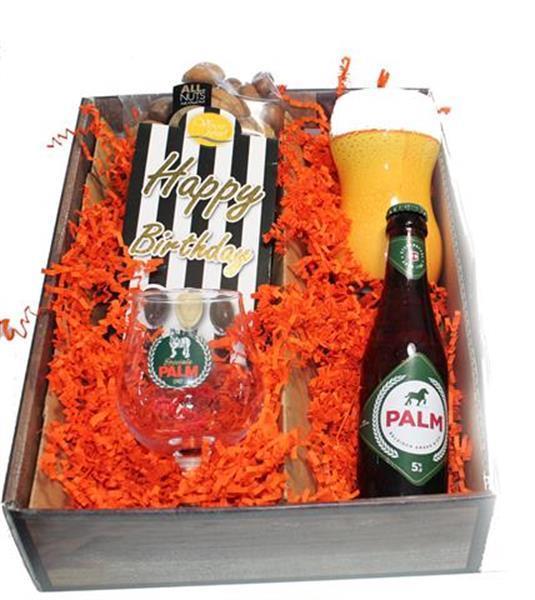 Grote foto bierpakket palm happy birthday diversen cadeautjes en bonnen