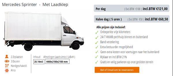Grote foto verhuiswagen bestelauto te huur verhuur huren kmvr diensten en vakmensen verhuur auto en motor