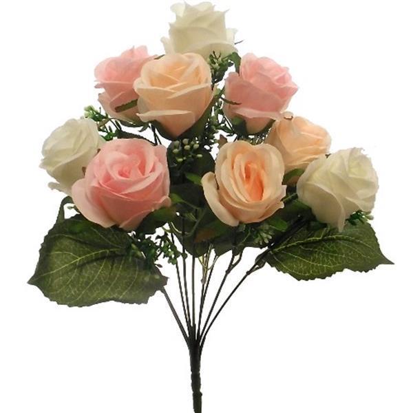 Grote foto zijde rozen rosebud bush with gyp 9 heads ivory pink peach verzamelen overige verzamelingen