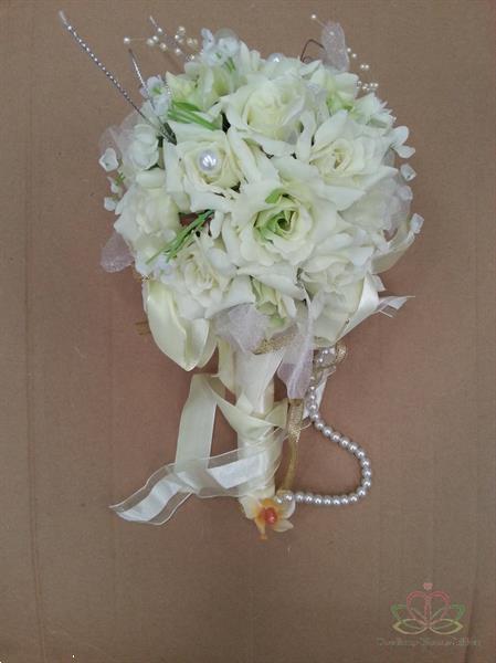 Grote foto bruidsboeketje zijderozen luxe frisgroen kleiner 31 24 bruid verzamelen overige verzamelingen