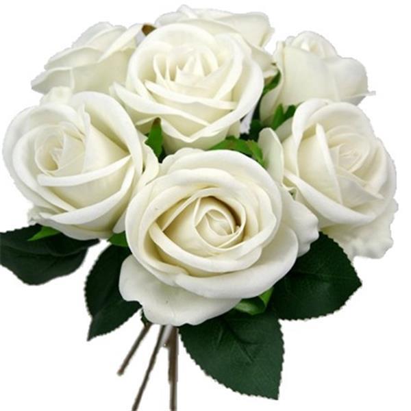 Grote foto zijde rozen 26cm. large velvet touch open rose puur white gr verzamelen overige verzamelingen