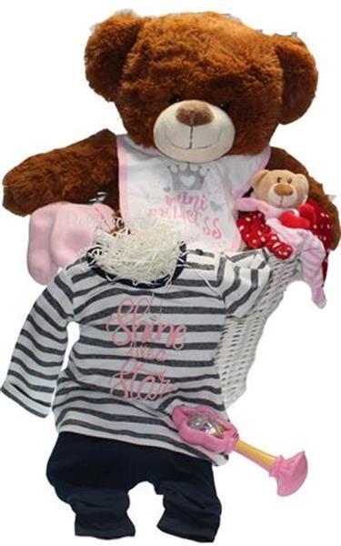 Grote foto geboortecadeau in mand met een bruine beer kinderen en baby kraamcadeaus en geboorteborden