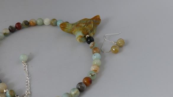 Grote foto amazoniet ketting oorhanger set sieraden tassen en uiterlijk kettingen