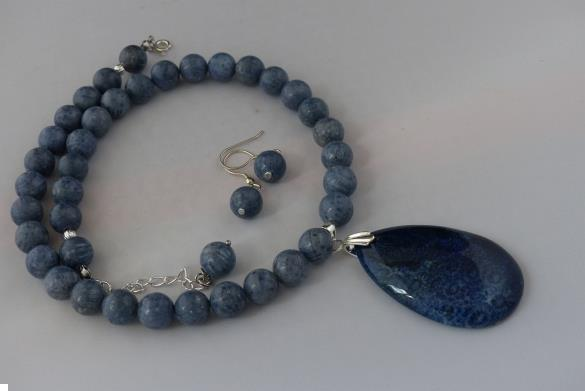 Grote foto blauwe koraal ketting oorhanger set sieraden tassen en uiterlijk kettingen